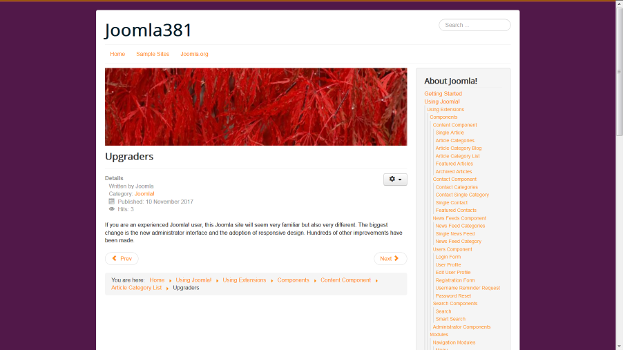 Joomla default website after changing template and background colors.